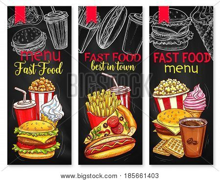 Fast food restaurant vector menu banners set of hamburger and french fries combo meal, cheeseburgers and pizza, soda or coffee drinks and ice cream dessert, hot dog and chicken nuggets