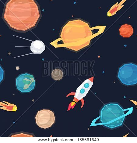 Seamless pattern with images of space, planets, satellites, meteorites and missiles. Vector illustration in flat cartoon style