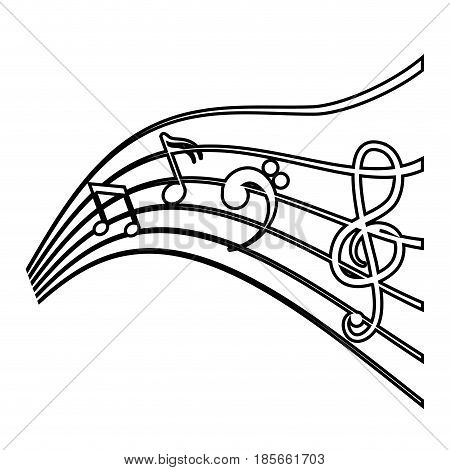 pentagram with musical notes icon over white background. vector illustration
