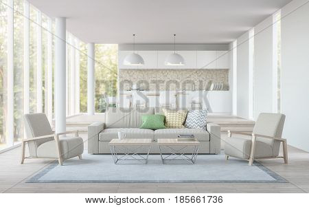 Modern white livingdining room and kitchen 3D rendering image.There are living room has a dining and kitchen in the back.There are large glass window overlooking the surrounding nature and forest