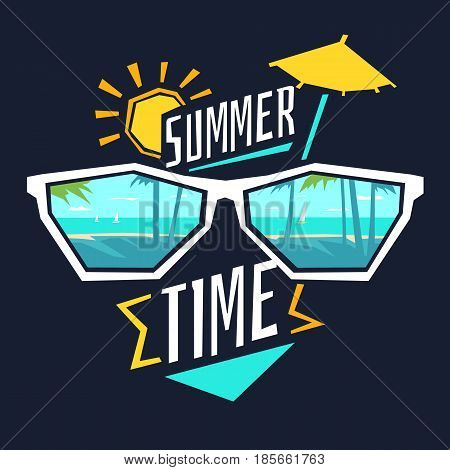 Vector illustration of a summer time with the glasses, coast, sun, and umbrella for a cocktail. A colorful poster in cartoon style