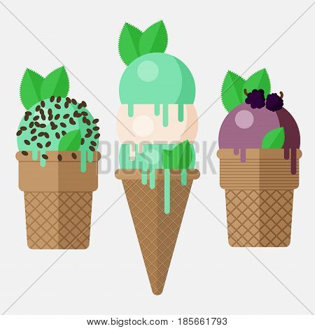 Mint ice cream cone. Mint ice cream scoop in cone with vanilla, chocolate and blackberry. Mint ice cream cones, vector flat illustration. Isolated on white background mint ice cream