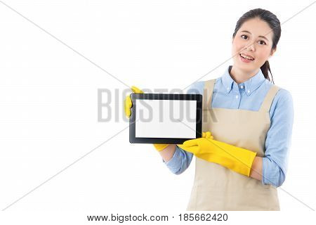 Clean Lady Smile Displaying Digital Touch Pad