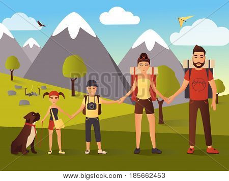 Happy family hiking in the mountains vector illustration. Father, mother, son and daughter holding hands. Flat style design.
