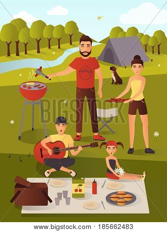 Family picnic vector illustration. Bbq party. Summer vacations, summer holiday, weekend concept design element in flat style.
