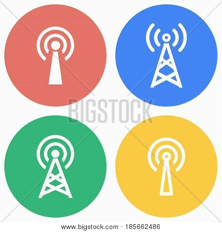 Communication tower vector icons set. Illustration isolated for graphic and web design.
