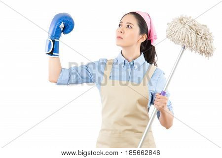 Holding Cleaning Swab And Lifted Arm