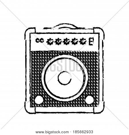 Guitar amplifier icon over white background. vector illustration