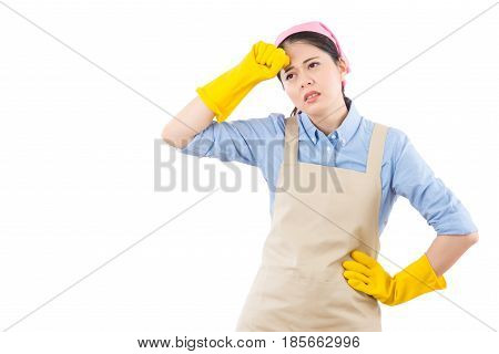 Cleaning Woman With Migraine Headache