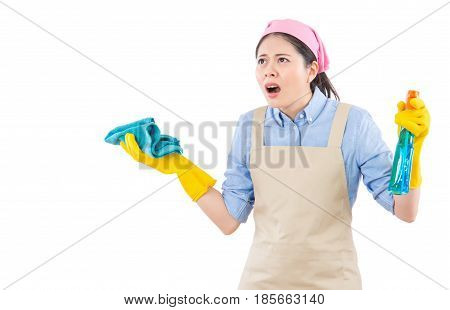 Amazed Shocked Woman With Cleaning Gloves