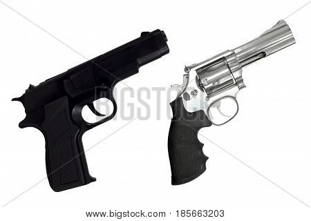 Revolvers gun and black semi-automatic gun isolated on white background