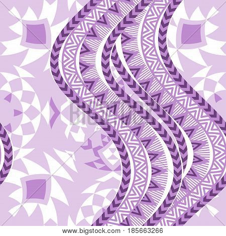Violet waves. Abstract ethnic background. Traibal seamless pattern. Vector illustration.
