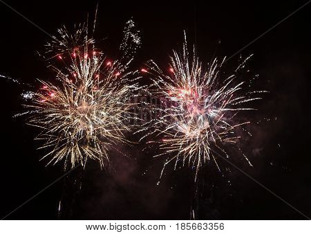 Amazing Colorful Fireworks On A Night Sky Black Background