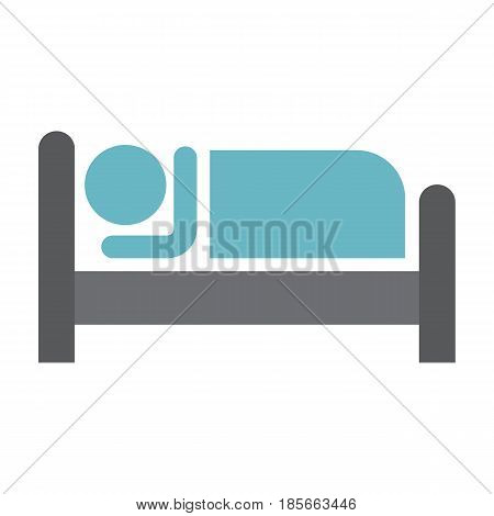 Person in bed and Hotel flat icon, Travel and tourism, motel vector graphics, a colorful solid pattern on a white background, eps 10.