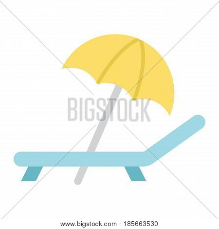 Beach umbrella with deckchair flat icon, Travel and tourism, vector graphics, a colorful solid pattern on a white background, eps 10.