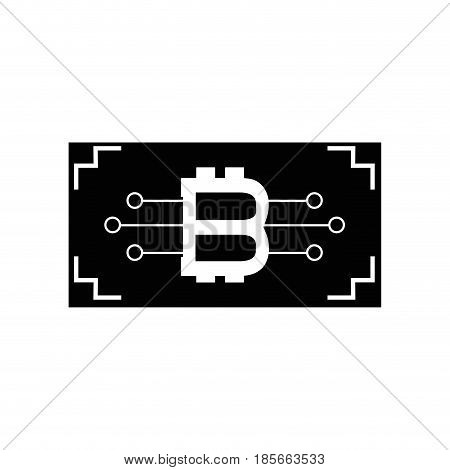 contour ticket with bitcoin circuits money currency, vector illustration
