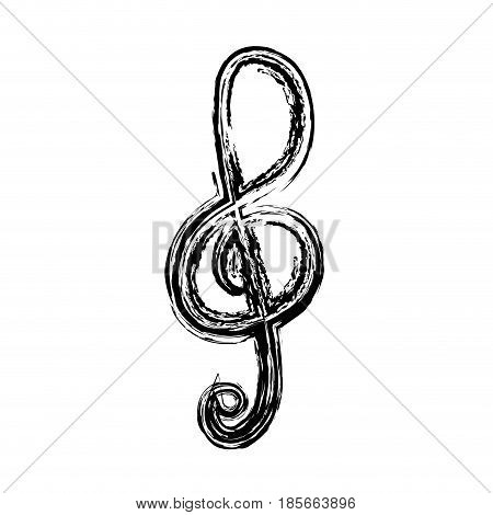 treble clef, musical note icon over white background. vector illustration
