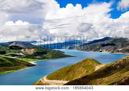 Beautiful Tibet scenery in china- The YamdrokTso is one of the three holy lakes in Tibet, and the lake is 4,441 meters above sea level.