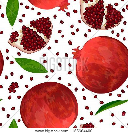 Ripe red pomegranate and slices isolated on white. Whole, slices and skinned. Side view. Close up. seamless pattern vector. for cooking, cosmetics, wrapping, health care, ointments, perfumery