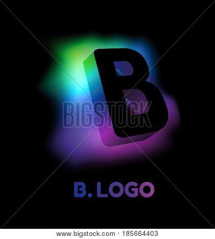 Abstract letter B. Creative glow pattern 3D logo corporate style of the company or brand name B. Black letter abstract, multicolored, gradient, blurred background. Elements of graphic design