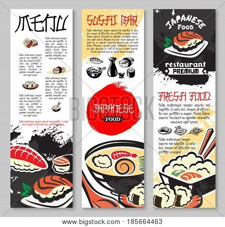 Sushi bar and Japanese seafood restaurant vector banners. Menu set of sushi rolls with shrimp, tempura prawn and rolls with fish caviar, steamed rice and noodles or miso soup for sea food cuisine