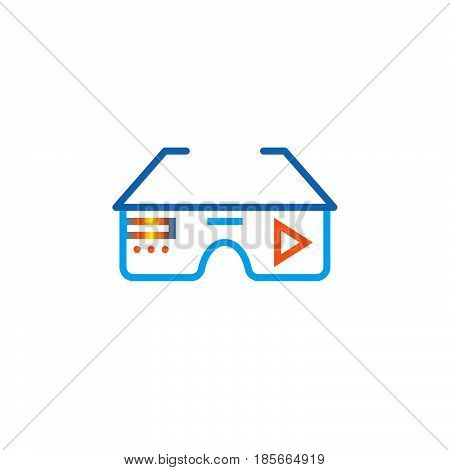 virtual reality eyeglasses line icon outline vector logo illustration linear pictogram isolated on white