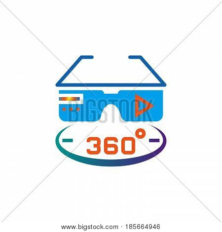 360 degree vr glasses icon vector solid logo illustration pictogram isolated on white