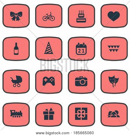 Vector Illustration Set Of Simple Holiday Icons. Elements Confectionery, Baby Carriage, Ribbon And Other Synonyms Train, Baby And Joystick.