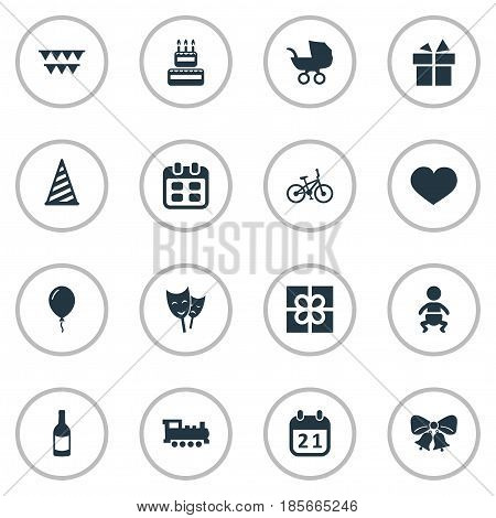 Vector Illustration Set Of Simple Celebration Icons. Elements Days, Soul, Baby Carriage And Other Synonyms Present, Sport And Date.