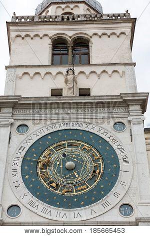 Clock tower building of medieval origins overlooking Piazza dei Signori in Padova Italy