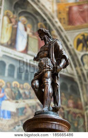 PADUA ITALY - MAY 3 2016: Statue of John Baptist in Baptistery of Duomo or The Cathedral of Santa Maria Assunta by Giusto de Menabuoi (1375-1376).