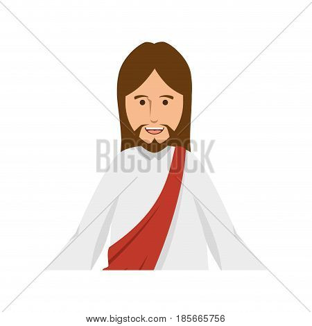 cartoon jesus christ icon over white background. colorful design. vector illustration