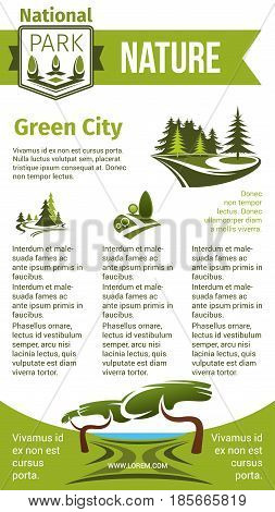 Green city and nature vector poster for eco gardening or urban horticulture and planting company. Design of green village and parkland or woodland trees and greenery squares and parks