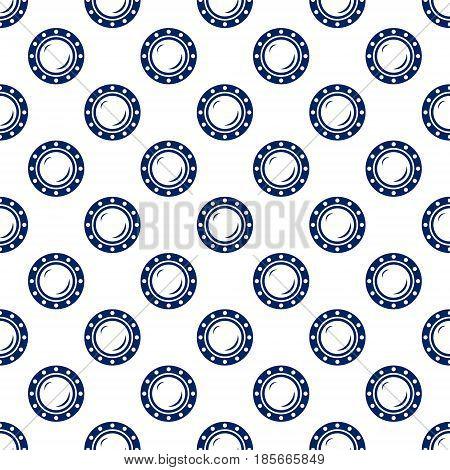 Blue Porthole Seamless Maritime Pattern Blue Ship Window on White Background Vector Illustration