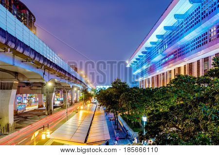 TAIPEI TAIWAN - APRIL 18: This is a view of Taipei main station architecture and outdoor area at night on April 18 2017 in Taipei