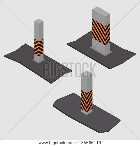 Set of different shape concrete columns and pillars isolated on white background. Design elements of building materials and structures. Flat 3d isometric style vector illustration.