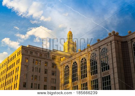 Boston Massachusetts - July 42016: The Newbry building in Boston. Also Called the Boston Mutual Life Building with its Gold Dome Clock Tower Located in Copley Square Boston Massachusetts.