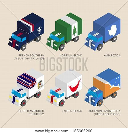 Set of isometric 3d cargo trucks with flags of countries and territories. Cars with standards - Easter Island, Norfolk Island, French Antarctic Lands, British Antarctic, Tierra del Fuego