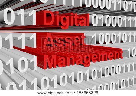 Digital asset management in the form of binary code, 3D illustration
