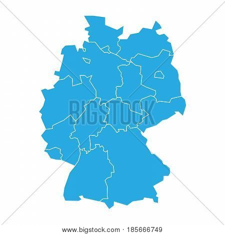 Map of Germany devided to 13 federal states and 3 city-states - Berlin, Bremen and Hamburg. Simple flat blank blue vector map silhouette.