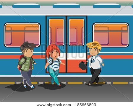 People in city subway. People in metro. Vector illustration