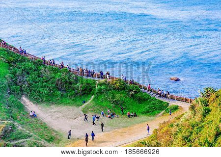KEELUNG TAIWAN - APRIL 04: This is Badouzi seaside park scenic area where many travelers come to hike and see the sea views on April 04 2017 in Keelung
