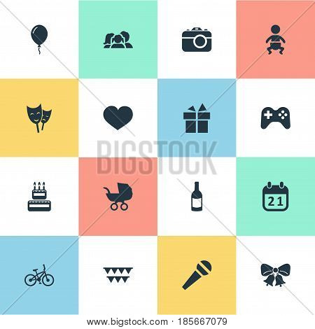 Vector Illustration Set Of Simple Birthday Icons. Elements Game, Special Day, Soul And Other Synonyms Play, Beverage And Sweetmeat.