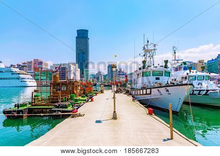 KEELUNG TAIWAN - APRIL 04: This is the Keelung harbor with boats. It is one of Taiwan's main ports where you can see boats and ships docked on April 04 2017 in Keelung