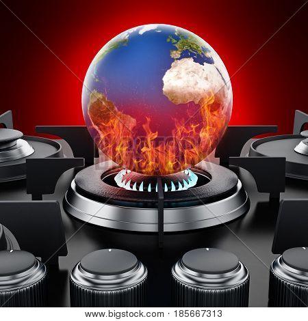 Burning earth on stove. Global warming concept. 3D illustration.