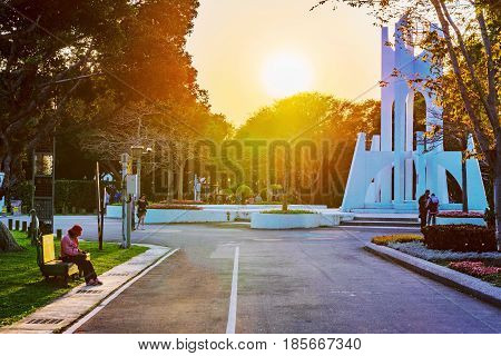 TAIPEI TAIWAN - APRIL 03: Taipei Expo park is a popular park where many people come to walk and relax on April 03 2017 in Taipei