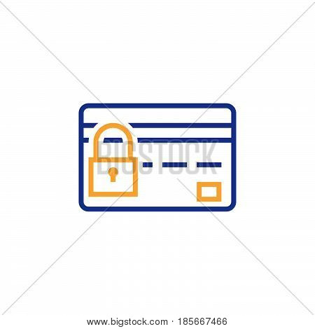 Credit Card Security Line Icon, Safe Payment Concept Outline Vector Logo, Linear Color Pictogram Iso