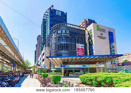 TAIPEI TAIWAN - APRIL 03: This is the Taipei long distance bus station building and Q Square shopping mall in the downtown area on April 03 2017 in Taipei