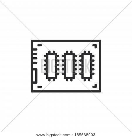 SSD Solid state drive line icon outline vector sign linear style pictogram isolated on white. Symbol logo illustration. Editable stroke. Pixel perfect