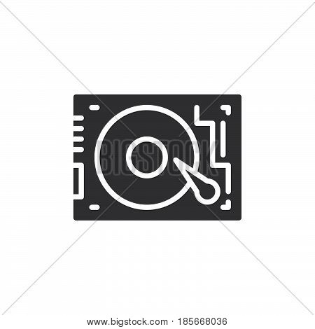 HDD Hard disk drive icon vector filled flat sign solid pictogram isolated on white. Symbol logo illustration. Pixel perfect